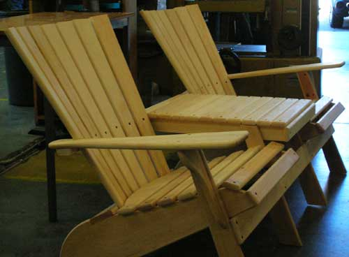 Tandem Adirondack chairs/table (under construction) - white cedar