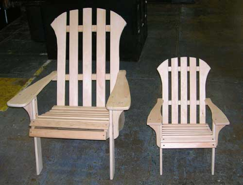 Traditional Adirondack Chairs, adult/child - white pine